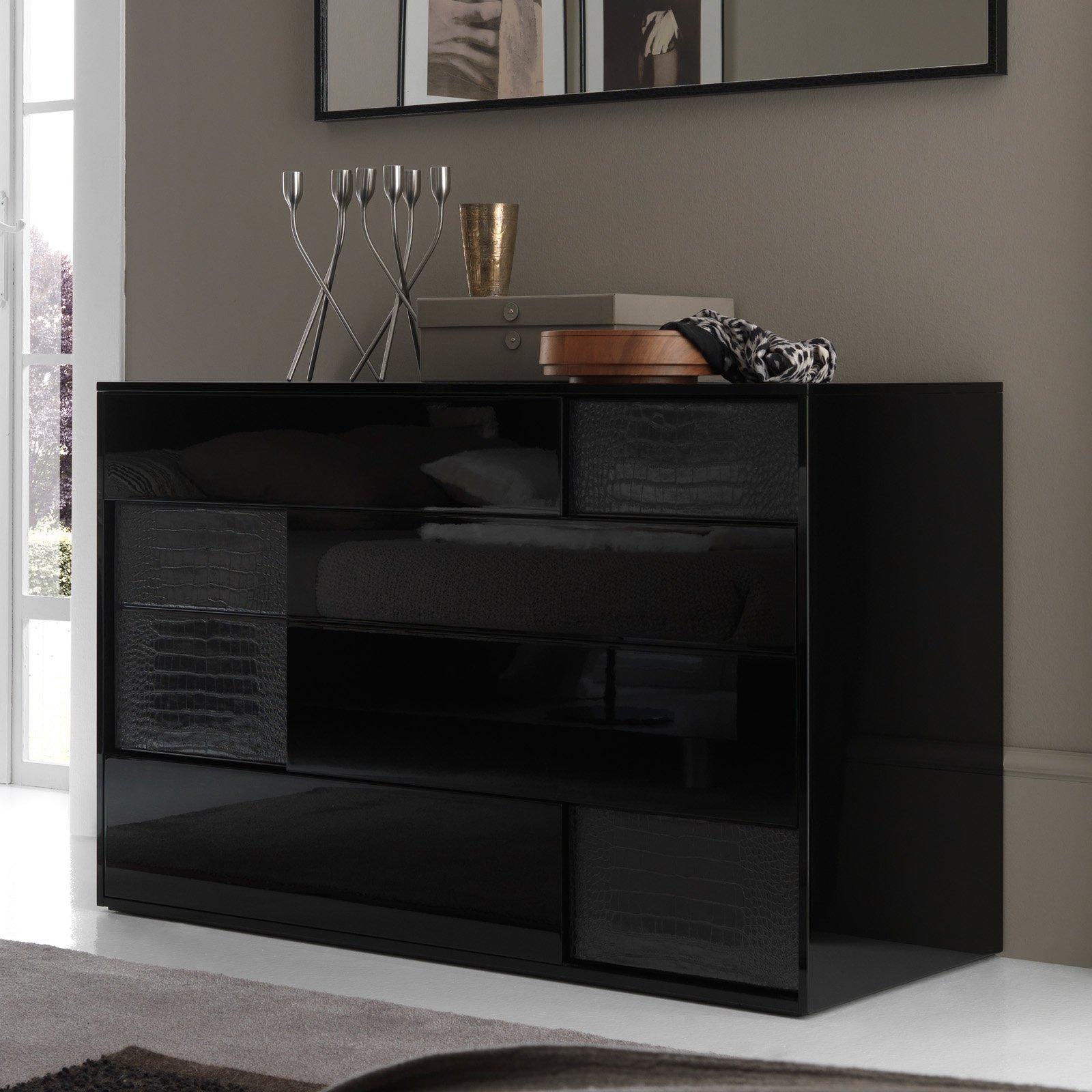 Rossetto Nightfly Black 4 Drawer Dresser