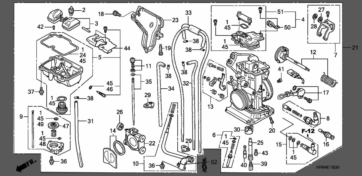 Honda 2008 08 Crf250r Crf 250r Carb Carburetor Assembly 16100 Krn