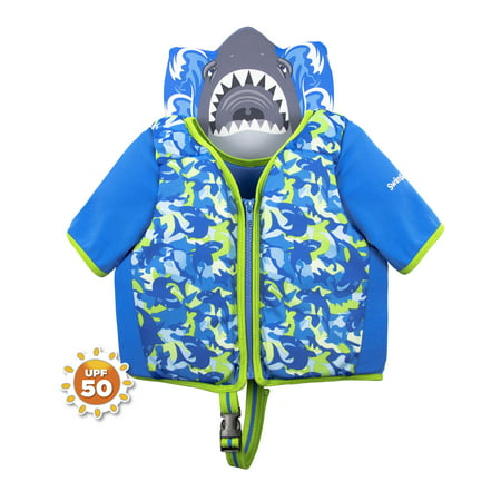 Collared Swim Training Vest - Shark Camo, Med/Lg (Shrek Vest)