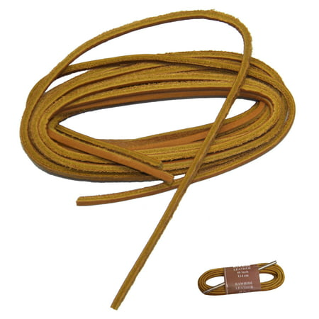 45 Inch 114 cm Tan Rawhide Leather replacement kit w/ lacing needle - ( Two laces of tan rawhide and one 5 inch aluminum lacing needle with instructions)