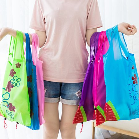 Cute Strawberry Design Foldable Polyester Shopping Bag Environment Handle Bag - image 5 of 7