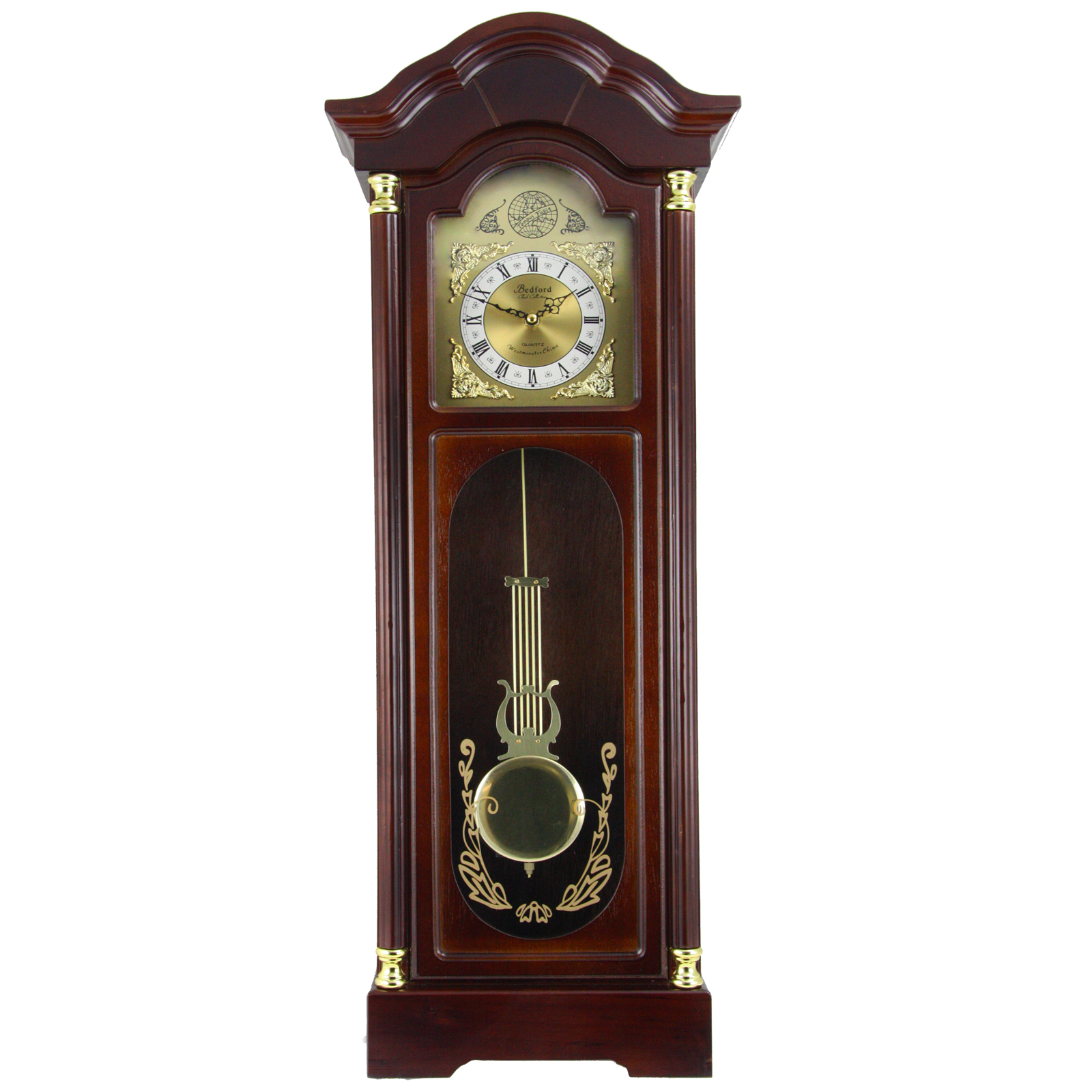 "Bedford Clock Collection 33"" Antique Cherry Oak Finish Chiming Wall Clock with Roman... by Bedford Clock Collection"