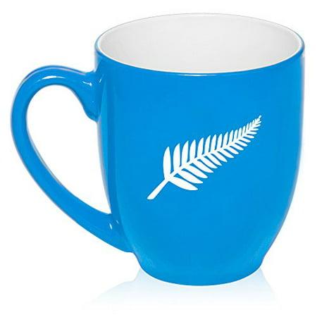 ea812e45008 16 oz Large Bistro Mug Ceramic Coffee Tea Glass Cup New Zealand Silver Fern  (Light Blue) - Walmart.com
