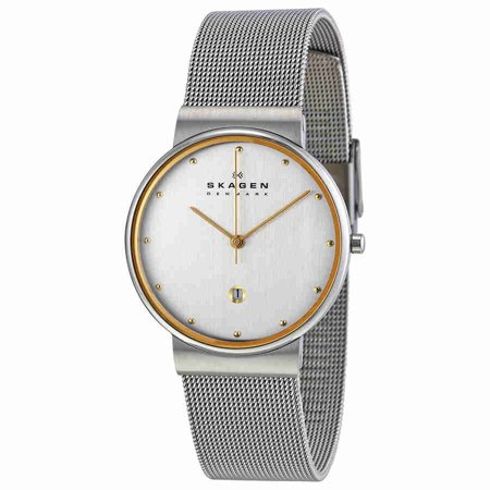 Men's Skagen Two Tone Mesh Band Watch 355LGSC