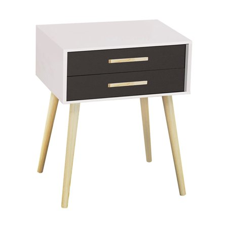 Prefinished Real Wood - Nightstand Modern Fashion 4 Thin Long Legs Space Station - 2 Tier Cubic Night Stand Storage Bedside Table with 2 Drawers | Real Natural Paulownia Wood - White & Navy