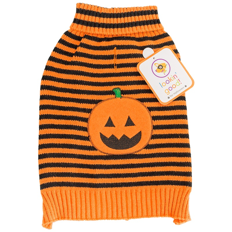"Lookin' Good Striped Pumpkin Dog Sweater Small - (Fits 10""-14"" Neck to Tail)"