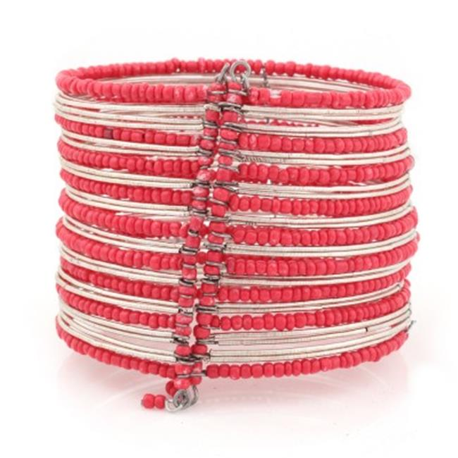 C Jewelry Silver-Tone Red Seed Bead Hinged Bracelets
