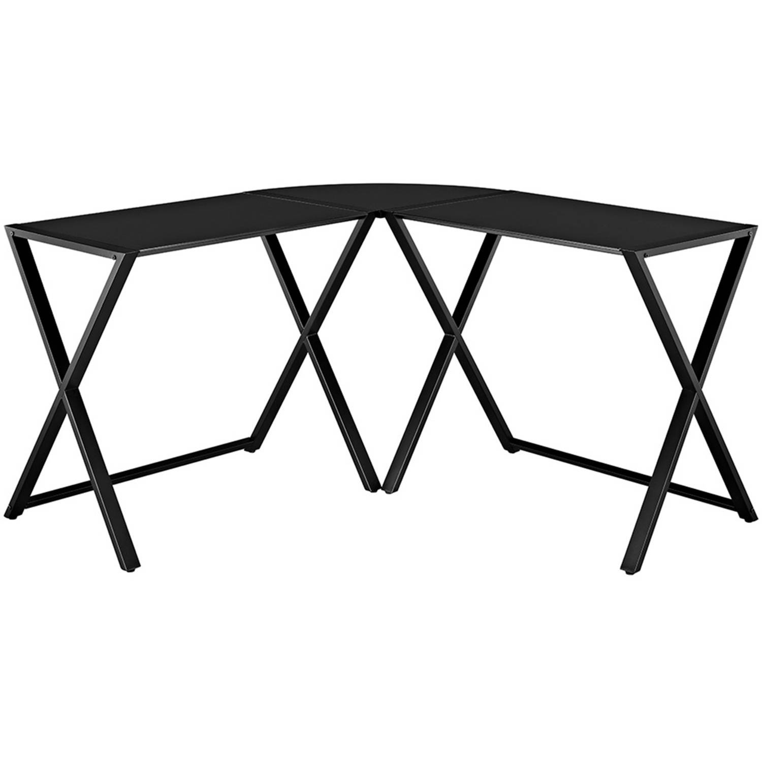 Walker Edison Glass and Metal XFrame Corner Computer Desk Black