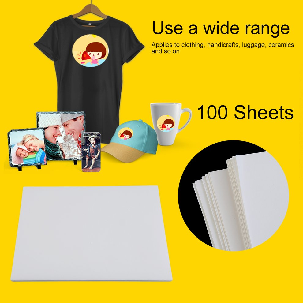 100 PCS A4 Heat Transfer Paper Polyester Cotton T-Shirt Iron On Transfer Paper
