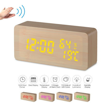 Wooden Alarm Clock 115-Colored Time/ Humidity/ Temperature/ Date Display Wood LED Digital Desk Clock Adjustable Brightness Voice Control Snooze Function 2 USB Ports USB/ Battery Supply -- Natural Wood ()