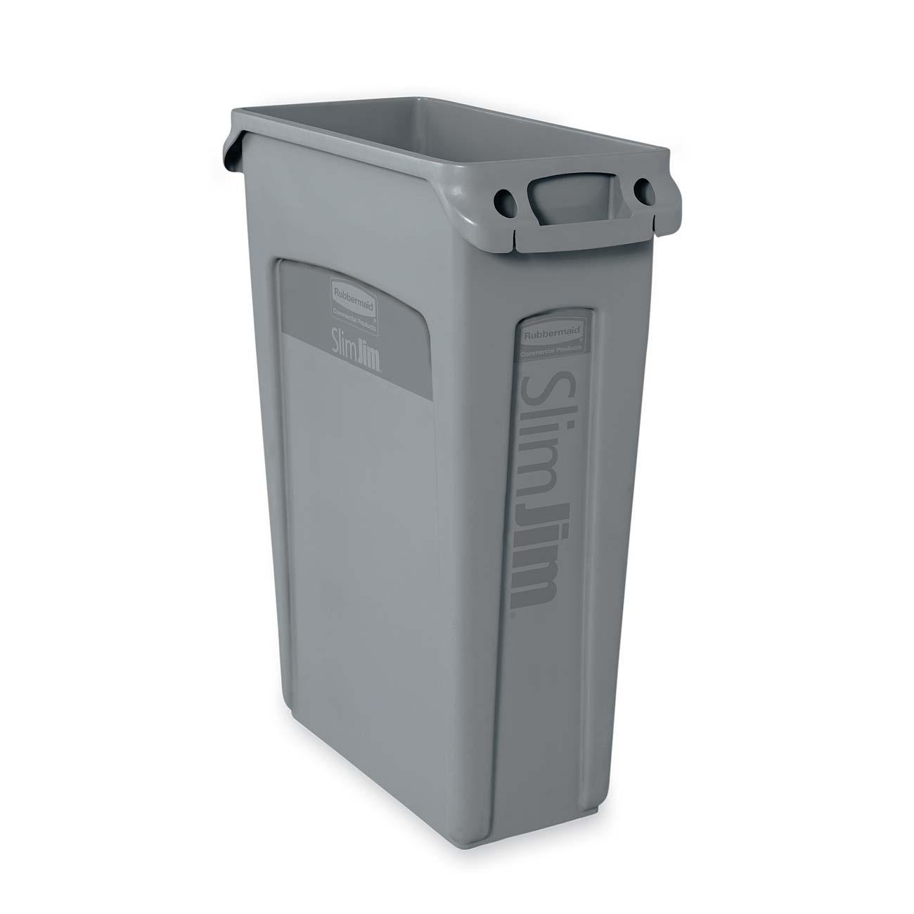 Slim Jim Trash Can With Venting Channels, Gray, 23 Gallons