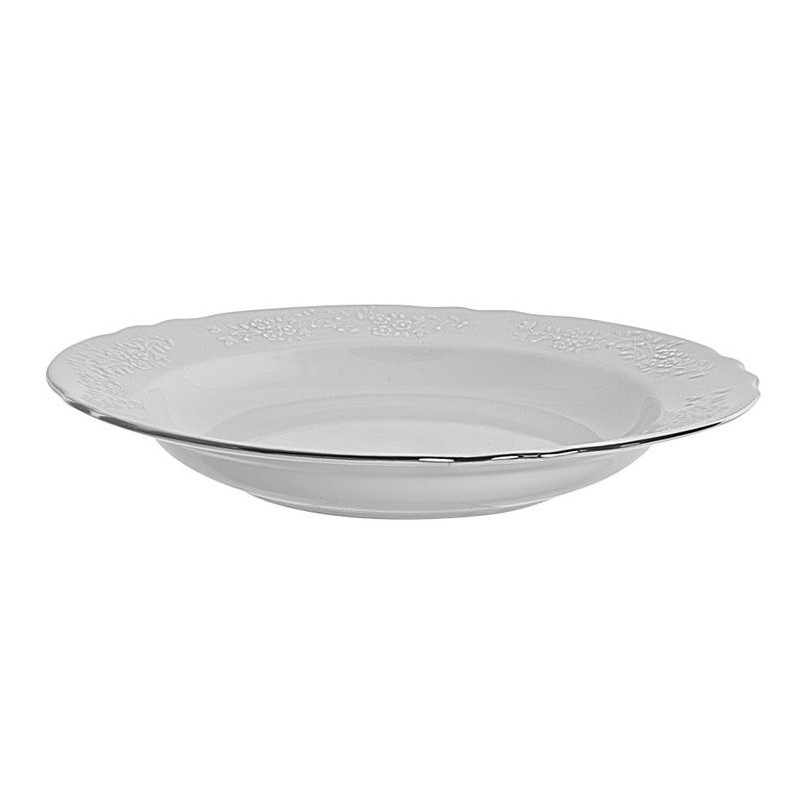 10 Strawberry Street Vine Silver Line Rim Soup Bowl (Set of 6) by 10 Strawberry Street