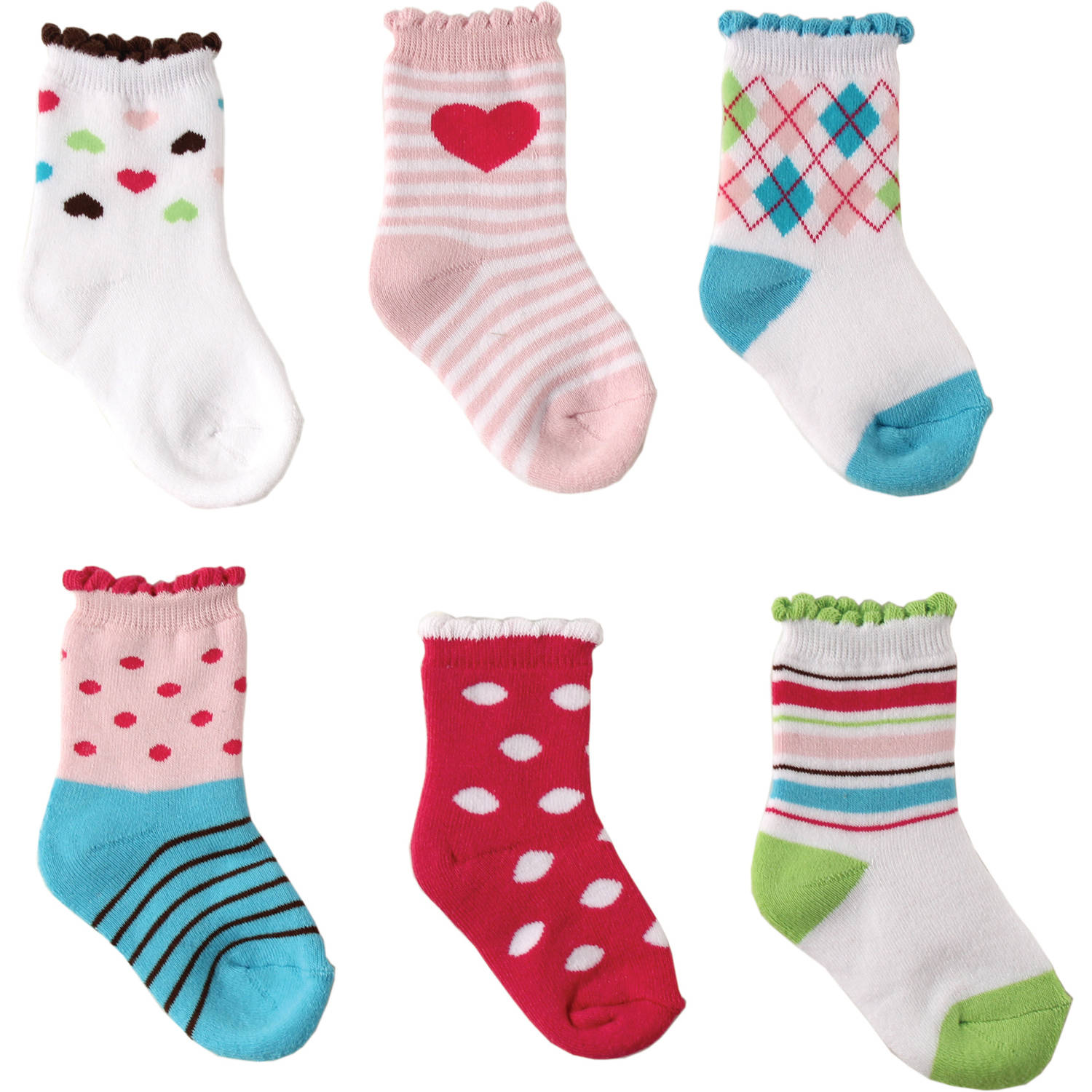 Luvable Friends Newborn Baby Pink Computer Cushion Socks 6-Pack