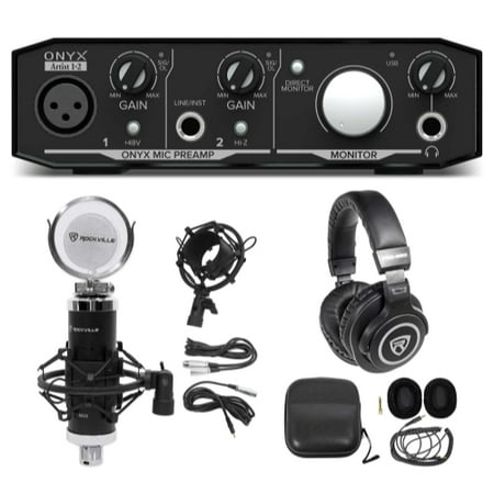 Mackie Onyx Artist 1.2 2x2 USB Recording Interface+Studio Microphone+Headphones Mackie Onyx Recording