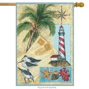 "Coastal Letters Summer House Flag Post Cards Lighthouse seagull nautical 28""x40"""