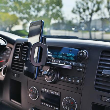 Universal Car Phone Holder CD Slot Phone Mount 360° Rotatable Smartphone GPS Bracket Extendable Cellphone Cradle w/ EVA Non-slip Pads for Hands-free -