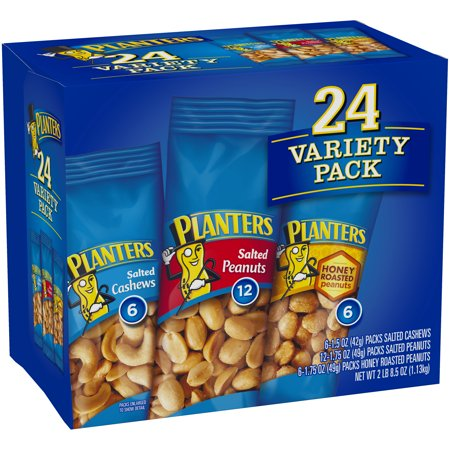 Planters Nut 24 Count-Variety Pack, Salted Peanuts, Honey Roasted Peanuts & Salted Cashews Ready-to-Go Sleeves, 40.5 oz Multi-Pack - Halloween Snack Healthy