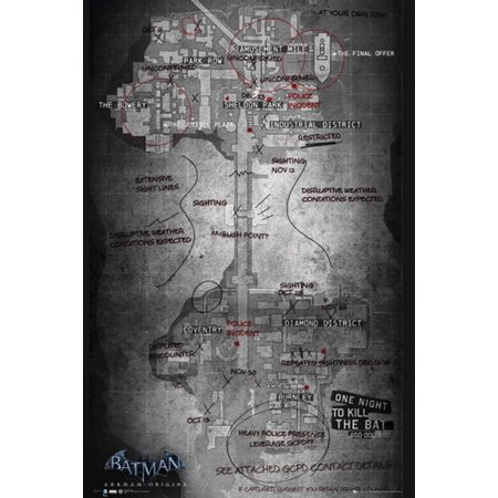 Batman Origins Map of Gotham City Poster Poster Print - Map Of Party City