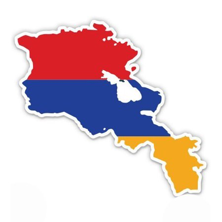 Armenia Flag Stickers (Armenia Map Flag Country Shape - Vinyl Sticker Waterproof Decal Sticker 5
