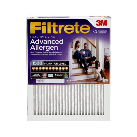 White Rodgers Furnace Filters - Filtrete Healthy Living Advanced Allergen Reduction HVAC Furnace Air Filter, 1500 MPR, 16 x 25 x 1, 1 Filter
