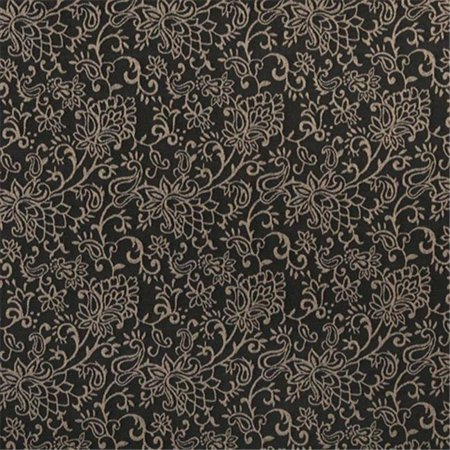 Contemporary Floral Fabric - Designer Fabrics B606 54 in. Wide Black, Contemporary Floral Jacquard Woven Upholstery Fabric
