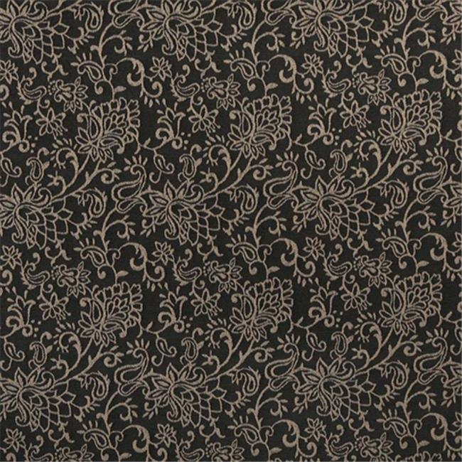 Designer Fabrics B606 54 in. Wide Black, Contemporary Floral Jacquard Woven Upholstery Fabric