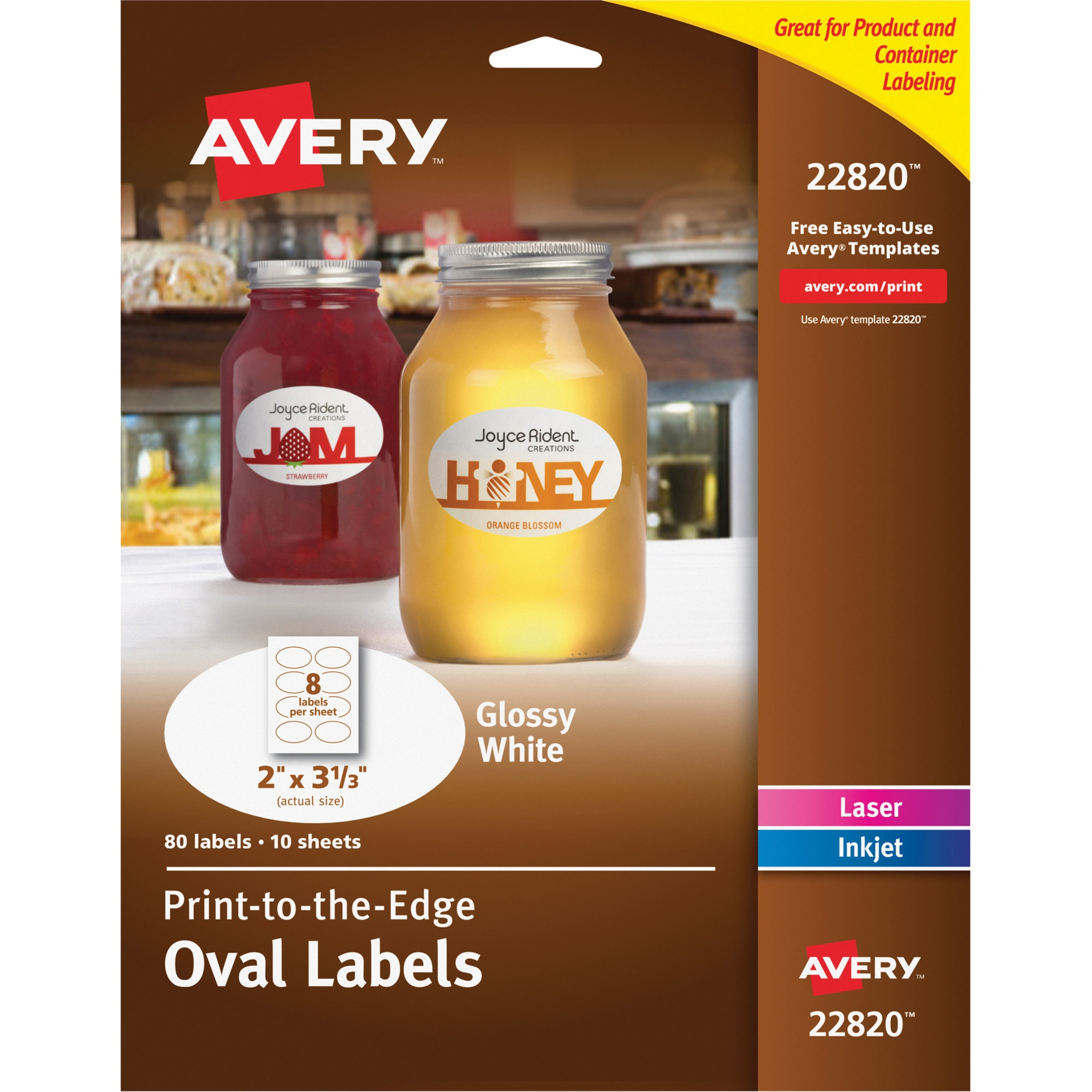 """Avery(R) Print-to-the-Edge Glossy Oval Labels, True Print(TM), 22820, 2"""" x 3-1/3"""", Pack of 80"""