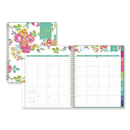 Blue Sky Day Designer Academic Year CYO Weekly/Monthly Planner, 11 x 8 1/2, White/Floral, 2019-2020 -BLS107925