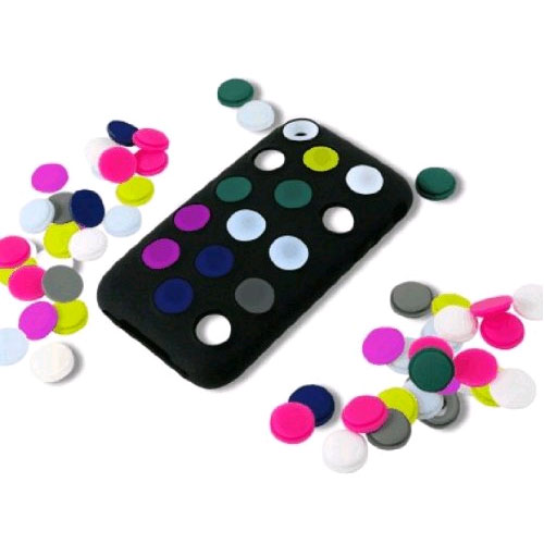Incipio Dotties Case for Apple iPhone 3GS - Black with Combination of Dot Colors