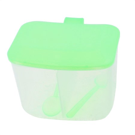 Kitchen 2 Compartments Condiment Container Dispenser Caddy w 2 Spoons
