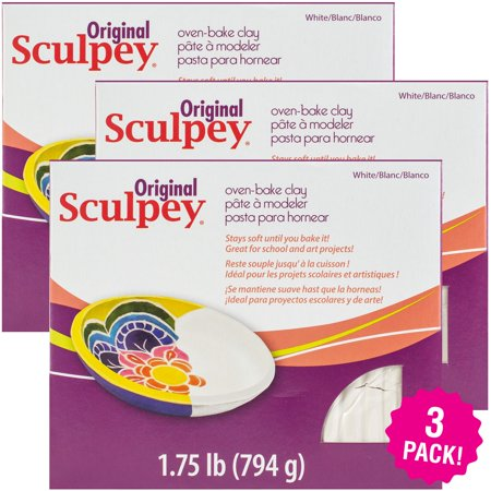 Sculpey Polymer Clay, White, 1.75lbs, Multipack of 3