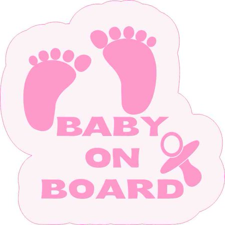 5in x 5in Pink Pacifier Baby on Board Sticker ()