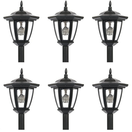 iGlow 6 Outdoor Garden 3-LED Bright White Vintage Antique Hexagon Solar Landscape Path Lantern Lights Stake Lamp Post ()
