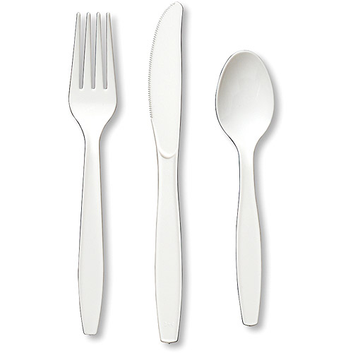 Creative Expressions 24-Pack Heavy-Duty Cutlery Assortment, White