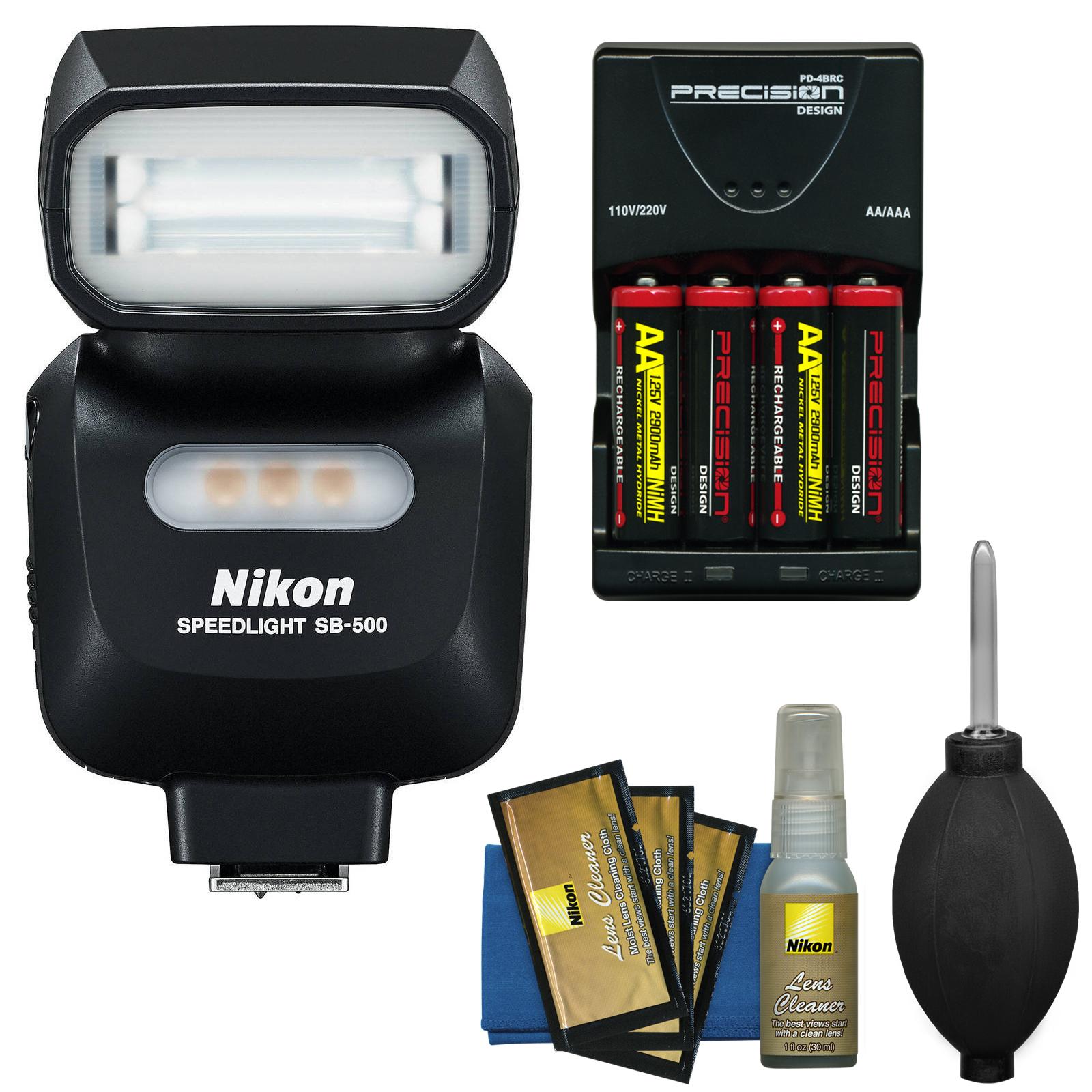 Nikon SB-500 AF Speedlight Flash & LED Video Light with Batteries & Charger + Kit for D3300, D3400, D5300, D5500, D7100, D7200, D500, D610, D750, D810, D5 DSLR Cameras