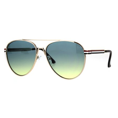 Mens Luxury Designer Retro Metal Rim Aviator Sunglasses Gold Blue Yellow
