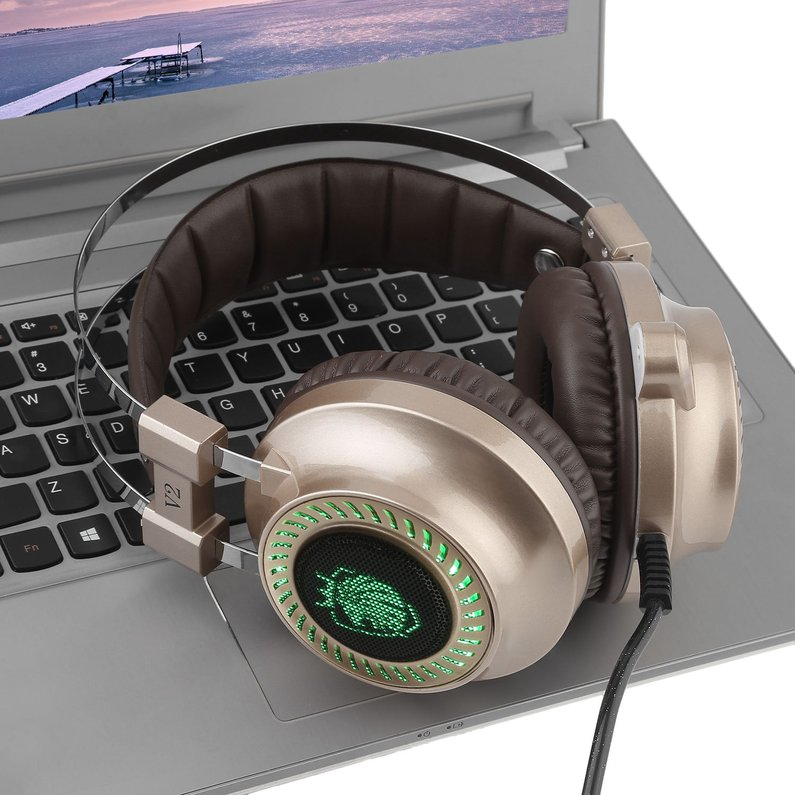 Hot Sale NEW Portable V2 Over Ear Game Gaming Headphone Noise Cancelling Gaming Headset Comfortable Computer Earphones Stereo Headphone(Gold)