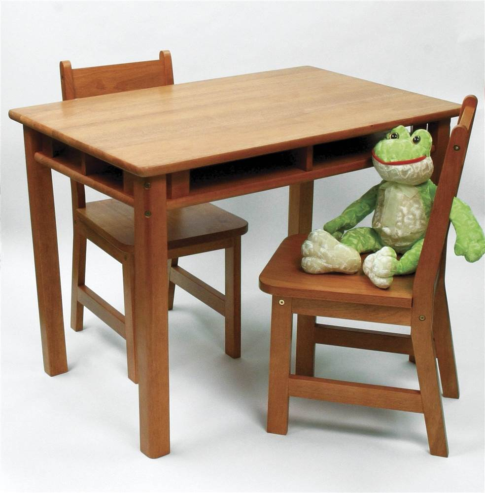 Child's Rectangular Table & 2 Chairs in Pecan Finish
