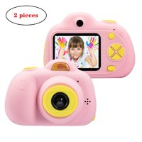 SEGMART 2 Pieces Child camera photo video double cameras, Kids Toys Camera Gifts for 3-8 Years Old Girls, Digital Camera Gift for Little Girl with Soft Silicone Shell for Outdoor Play, Pink, S8779