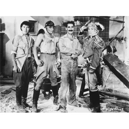 Marx Brothers standing with Construction Outfit with a Soldier- Photograph Print Print Wall Art By Movie Star News