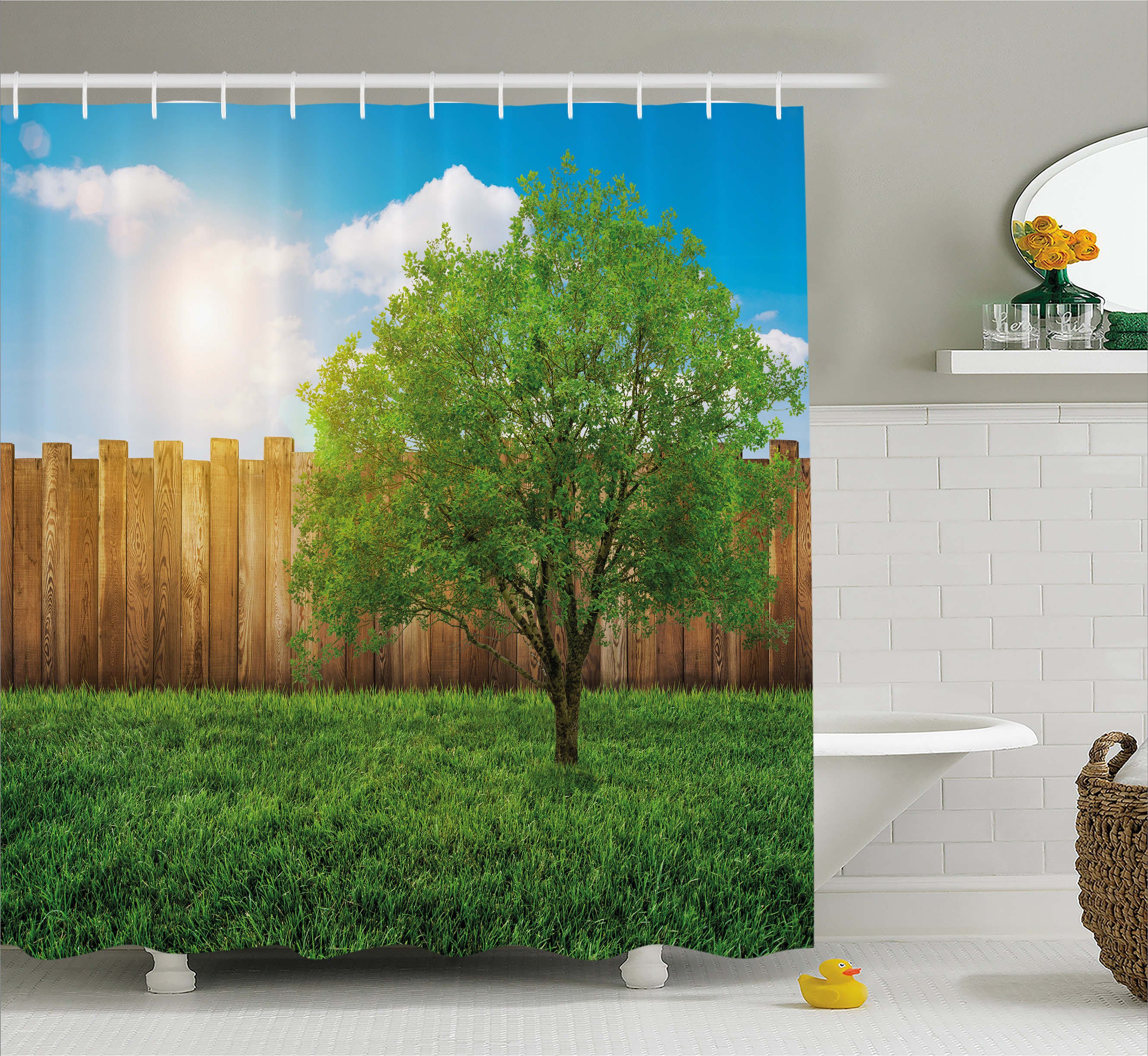 Farm House Decor Shower Curtain, Tree of Life in Backyard of a Countryhouse with Sun Tranquil Field Design, Fabric Bathroom Set with Hooks, 69W X 84L Inches Extra Long, Green Blue, by Ambesonne