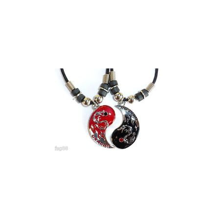 NEW BEST FRIEND Dragon Yin Yang 2 Pendants Necklace Set BFF Friendship Ying 2 (Yin Yang Necklaces)
