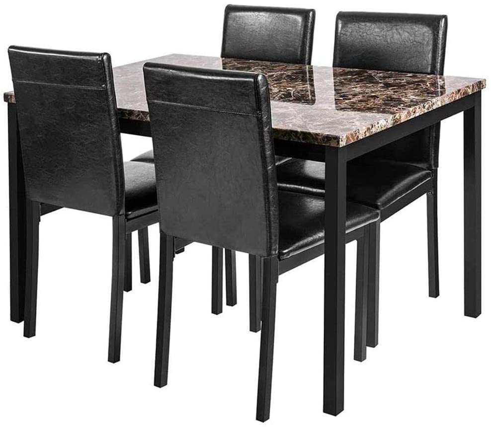 linkromat 5piece kitchen artificial marble dining table