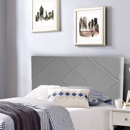 Headboard Fabric Upholstered Full/Queen Size Headboard With Modern Linen Tufted Heavy Duty With Nailheads in Gray ()