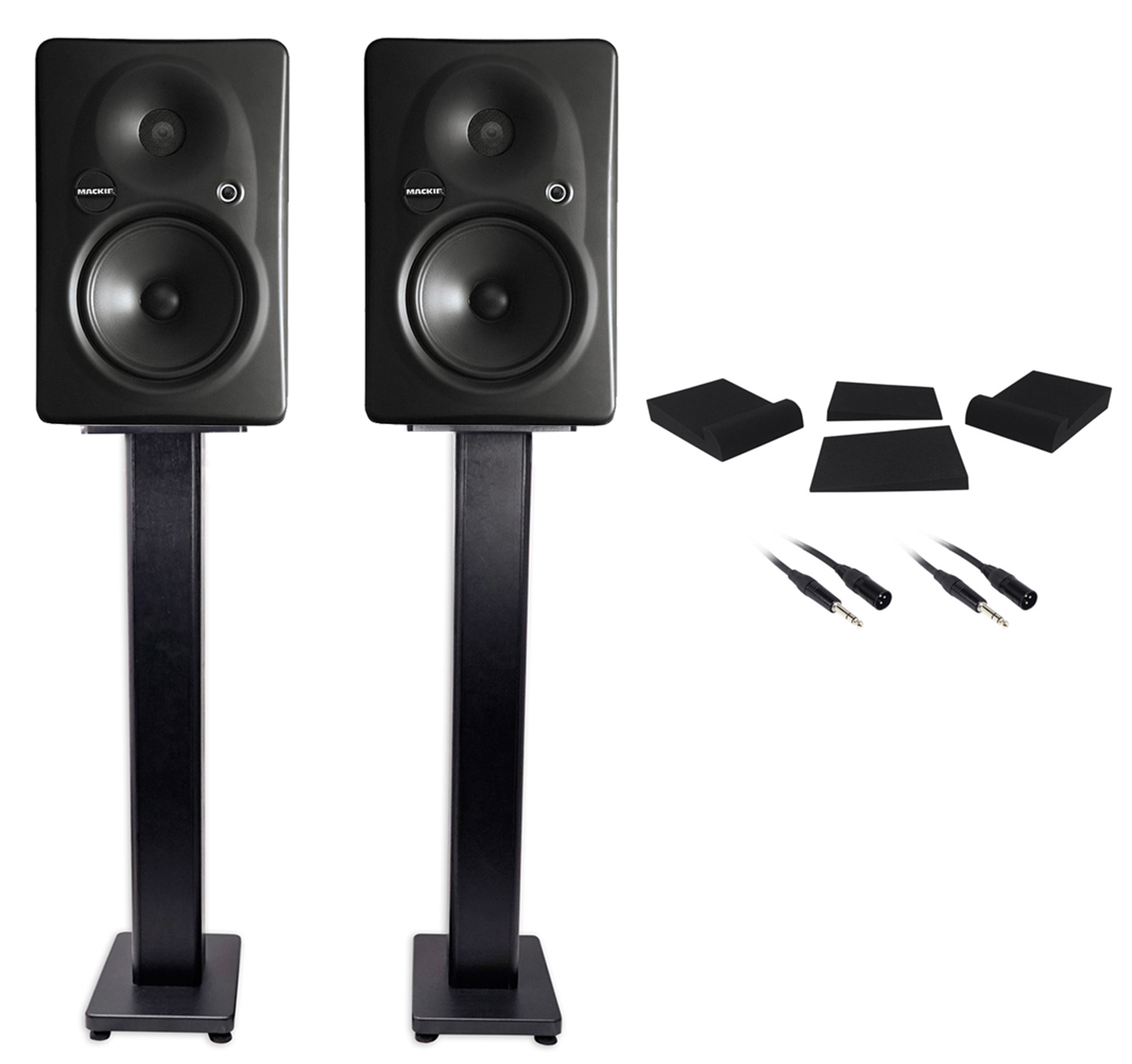 "(2) Mackie HR-624 MK2 HR624 6"" Powered Studio Monitors+Stands+Foam Pads+Cables by Mackie"