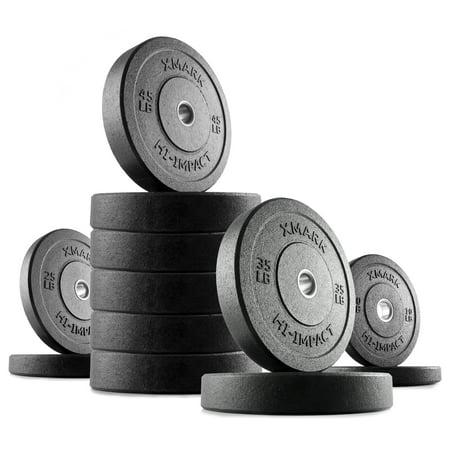 XMark HI-IMPACT 410 lb. Olympic Bumper Plate Weight Set (Olympic Bumper Weight Set)