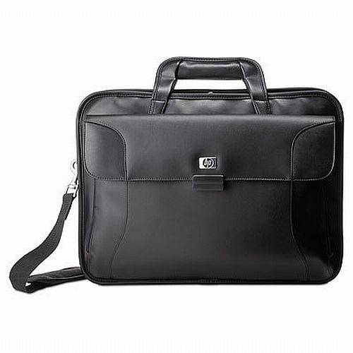 "HP 17"" Leather/Nylon Twill Laptop Computer Case, Black"