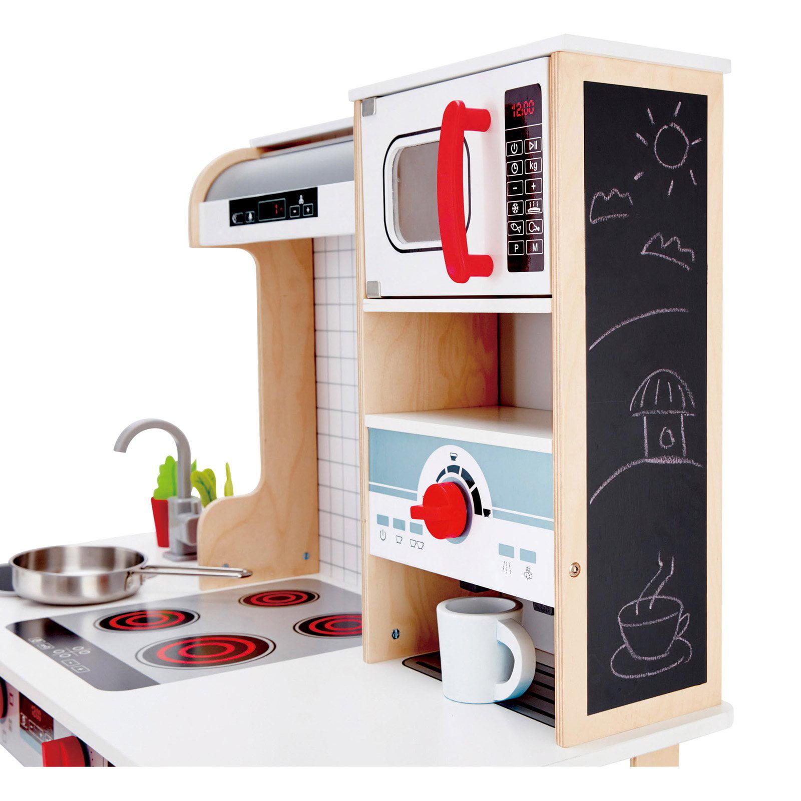 Hape All In 1 Kids Toddler Wooden Pretend Play Kitchen Set With 10 Accessories Walmart Com Walmart Com