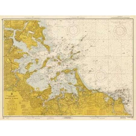 Nautical Chart - Boston Harbor Ca. 1970 - Sepia Tinted Poster Print by Noaa Historical Map-Chart, 22 x 28 - Large ()