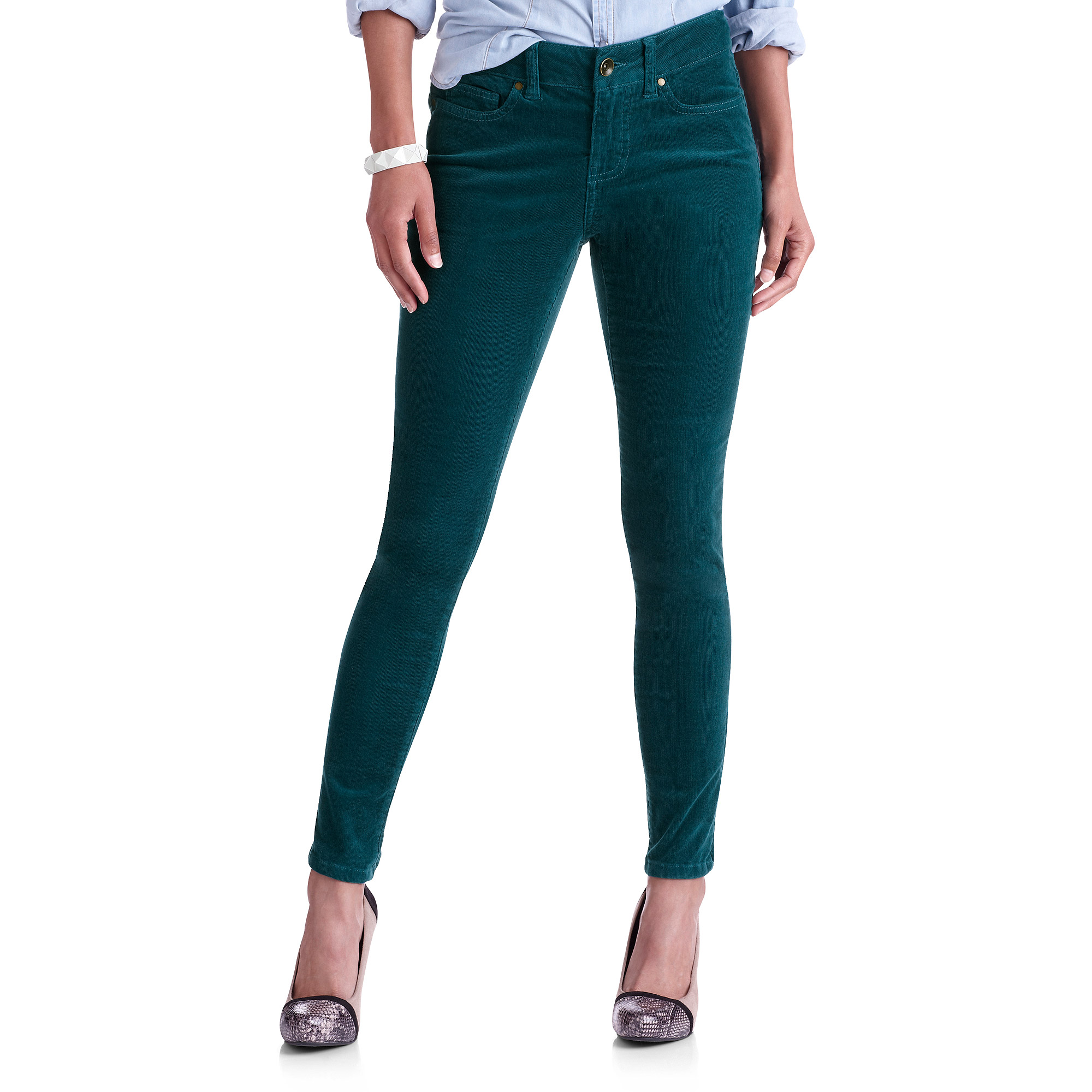 Faded Glory Womens Ankle Zip Corduroy Pants - Walmart.com